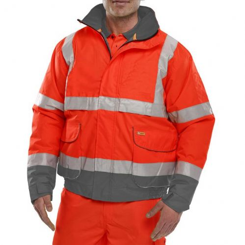 BSeen Hi Vis Red / Grey Bomber Jacket
